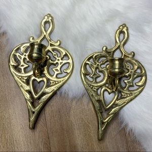 Vintage Brass Pair of Wall Candle Sconces Tapers